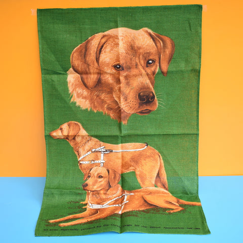 Vintage 1970s Tea Towel - Guide Dog Labradors - Kitsch