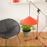 Vintage Unique Microphone Stand Adjustable Floor Lamp - Red / Chrome / Black