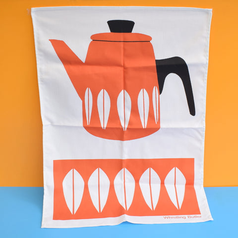 Retro Modern Tea Towel - Cathrineholm Coffee Pot Design - Orange