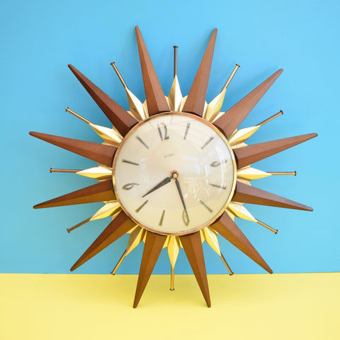Vintage 1960s Metamec Starburst / Sunburst Clock - Lovely Design