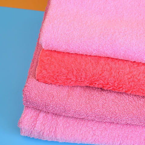 Vintage 1960s Cotton Hand Towel Stack - Pink