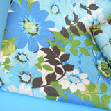 Vintage 1960s Fibreglass Curtains Flower Power -  Turquoise / Green