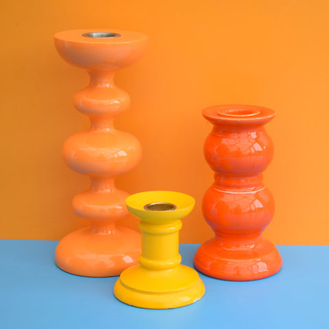 Vintage Bobbly Shaped Candle Holders - Orange & Yellow
