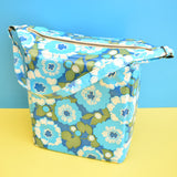 Vintage 1960s Vinyl Cool box or Picnic Bag - Blue Flower Power