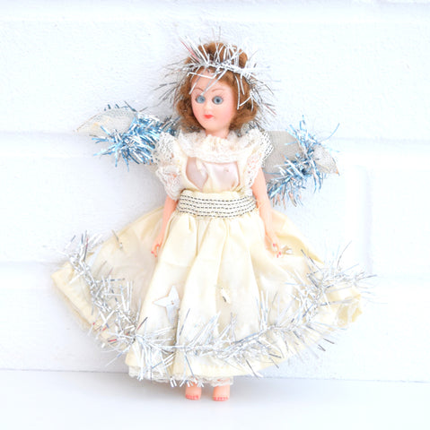Vintage 1950s Pretty Christmas Fairy Tree Topper - Opening Eyes