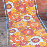 Vintage 1970s Garden Sun Lounger - Orange & Yellow Flower Power
