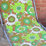 Vintage 1970s Garden Sun Lounger - Green Flower Power
