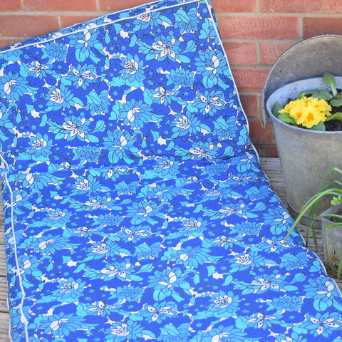 Vintage 1970s Padded Long Cushion / Mattress - Blue Flower Power
