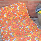 Vintage 1970s Padded Long Cushion / Mattress - Orange Flower Power