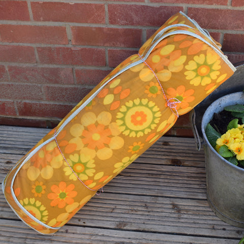 Vintage 1970s Padded Long Cushion / Mattress - Yellow Flower Power