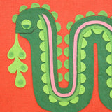 Vintage 1960s Embroidered / Collage Picture - Snake - Green & Red