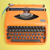 Vintage 1960s Adler Tippa Typewriter - Rare Cursive (Script) Font - Orange (With Case)