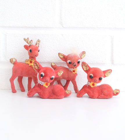 Vintage 1960s Bambi Flocked Kitsch Christmas Ornament - Deer, Red