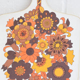 Vintage 1970s Flower Power Chopping Board - Orange / Brown