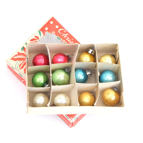 Vintage Mini 1950s Glass Christmas Baubles / Decorations x 12 Boxed