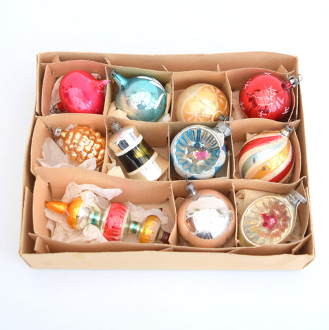 Vintage Mixed 1950s Medium Glass Christmas Baubles / Decorations x 11 Boxed, Amber