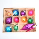 Vintage Brights 1950s Glass Christmas Baubles / Decorations x11