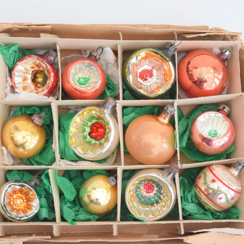 Vintage Mixed 1950s Glass Christmas Baubles / Decorations x 12 Boxed, Amber