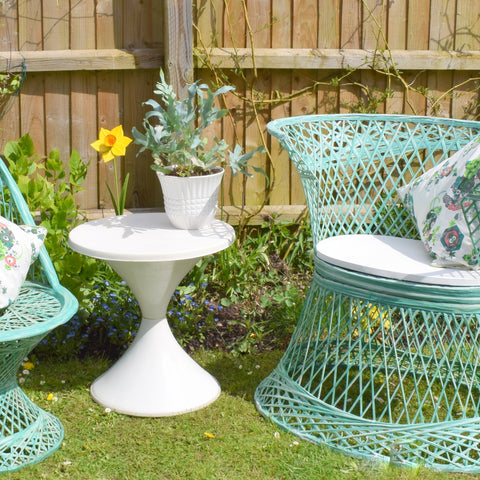 Vintage Fibreglass Strand Chair / Tub Chair & Side Table - Russell Woodard - Pale Green
