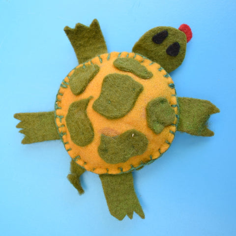 Vintage 1960s Small Felt Pin Cushion - Tortoise - Green