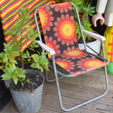 Vintage 1960s Folding Garden Chair / Windbreak - Flower Stripes- Orange