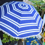 Vintage 1960s Folding Garden Chair / Parasol - Flowers - Blue