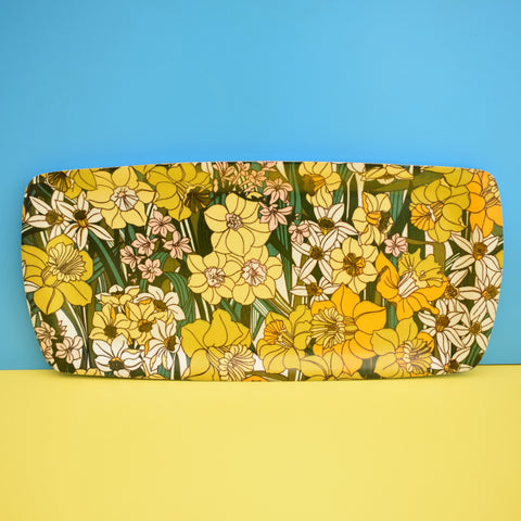 Vintage 1960s Long Flower Power Thetford Tray - Daffodils - Yellow