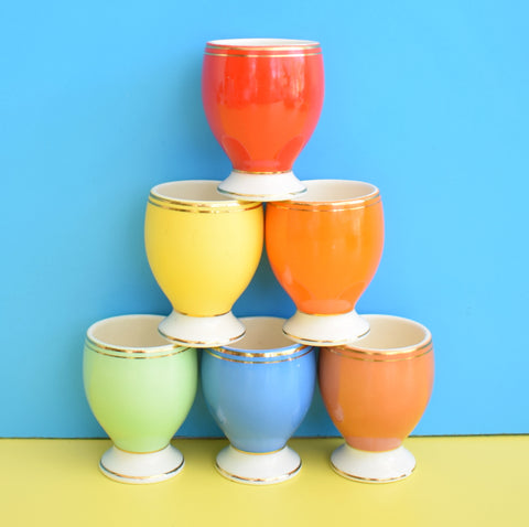 Vintage 1960s Ceramic Egg Cups - Rainbow Coloured (Boxed)