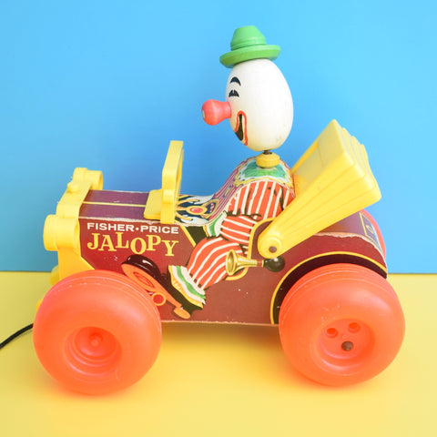 Vintage 1970s Plastic Fisher Price Jalopy Car Toy - Clown