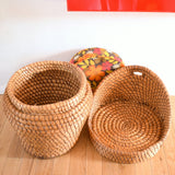 Vintage 1960s Wicker Chair / Storage - Flower Power Cushion