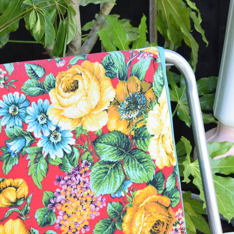 Vintage 1960s Folding Garden Chair - Roses - Red