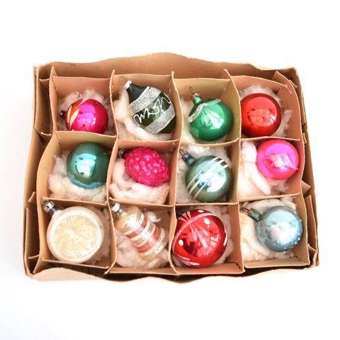 Vintage Boxed Concave 1950s Glass Christmas Baubles / Decorations