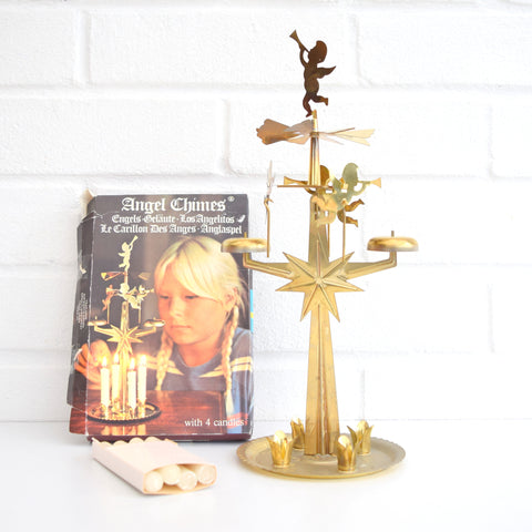 Vintage Boxed 1960s Swedish Angel Chimes With Candles, Gold