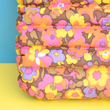 Vintage 1960s Vinyl Inflatable Pillow - Ideal Beach Use - Pink Flower Power