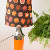 Vintage 1960s Floor Lamp - Glass / Chrome Base - Flower Power Orange & Brown Shade