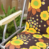 Vintage 1960s Folding, Padded Garden Chair - Flower Power - Yellow & Brown