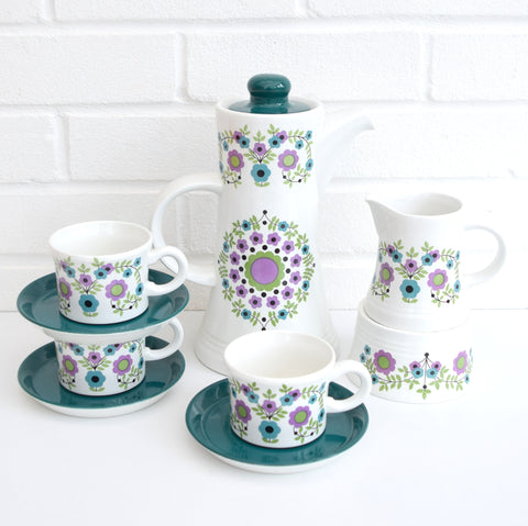 Vintage 1960s Barker Bros Royalty China, Flower Power, Purple & Blue