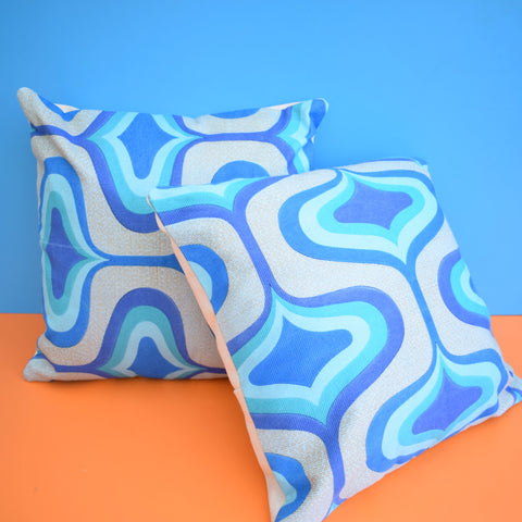 Vintage 1960s Cushion & Pad - Geometric Fabric - Blue (Pair Available)