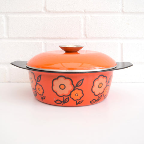 Vintage 1960s Enamel Casserole, Flower Power Design, Orange