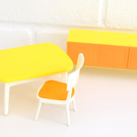 Vintage 1970s Flairline Dolls House Plastic Sideboard / Table Furniture Set - Yellow