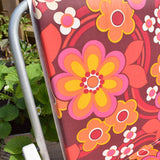 Vintage 1960s Folding, Padded Garden Chairs - Flower Power - Pink & Yellow