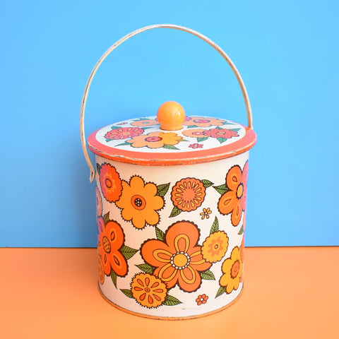 Vintage 1960s Metal Barat Ware Biscuit Tin - Flower Power - Orange