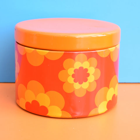 Vintage 1970s Small Round Metal Tin - French by Massilly - Flower Design, Orange