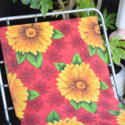 Vintage 1970s Garden Sun Lounger - Red Flower Power