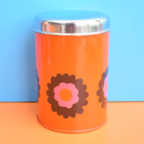 Vintage 1970s Metal Tin - Brabrantia - Flower Design, Orange & Chrome