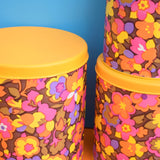 Vintage 1960s Round Metal Tin Set of 3 - Flower Power - Yellow, Pink