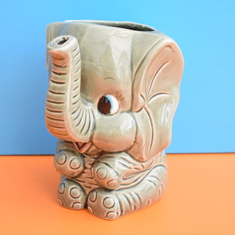 Vintage 1960s Kitsch Ceramic Elephant jug - Bond Ware - Grey