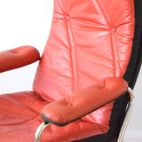 Vintage 1970s Stressless Leather & Chrome RECLINING Chair & Footstool - Red