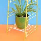 Vintage 1960s Pot / Plant Stand - Yellow & White