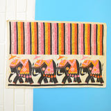Vintage 1960s Cotton Tea Towel - Flower Power Elephant Design, Orange & Pink
